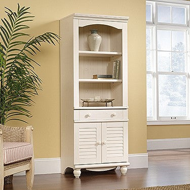 "72"" Bookcase with Enclosed Storage in Antique White Finish"