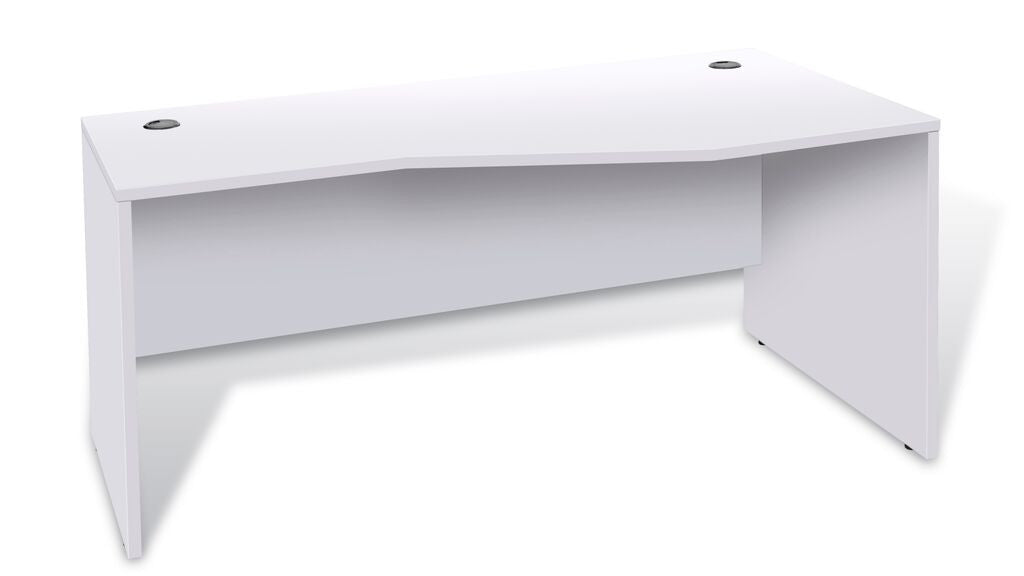 "63"" Modern White Crescent Office Desk with Optional Hutch"