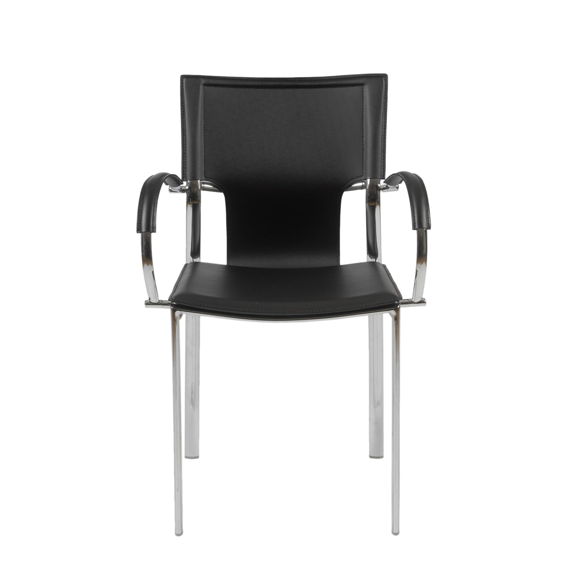 Black Leather Conference Or Guest Chairs With Arms (Set Of 2)