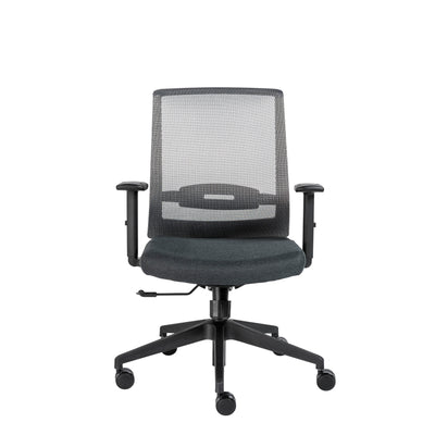 Mesh Gray & Black Rolling Office Chair w/ Adjustable Arms