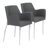 Cozy Gray Leatherette Guest or Conference Chair with Arms (Set of 2)