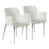 Cozy White Leatherette Guest or Conference Chair with Arms (Set of 2)