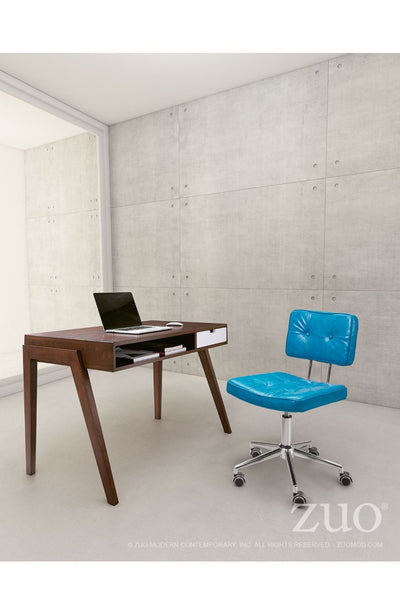 Modern Low-Back Blue Leather Office Chair with Chrome Base