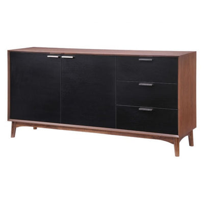 Mid-Century Style Black and Walnut Storage Credenza
