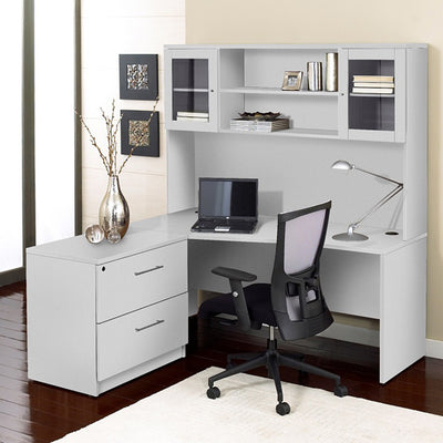 "Modern White 63"" Desk with Hutch & Lateral File"