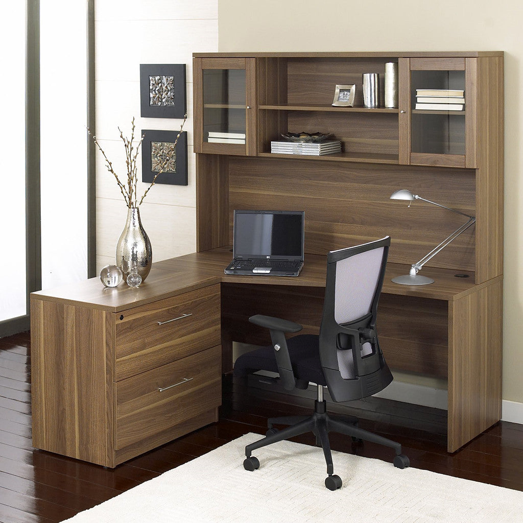 """Modern Walnut 63"""" Desk With Hutch & Lateral File"""