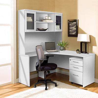 Modern White L-shaped Desk with Hutch & Mobile Pedestal