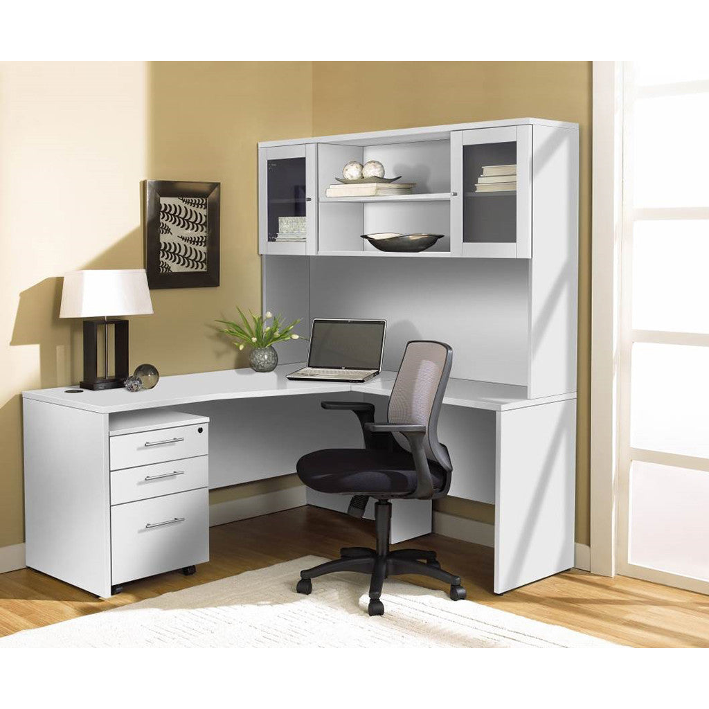 sports shoes 7934b 32fcd Modern White L-shaped Desk with Hutch & Mobile Pedestal