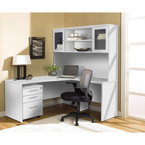 modern white lshaped desk with hutch u0026 mobile pedestal