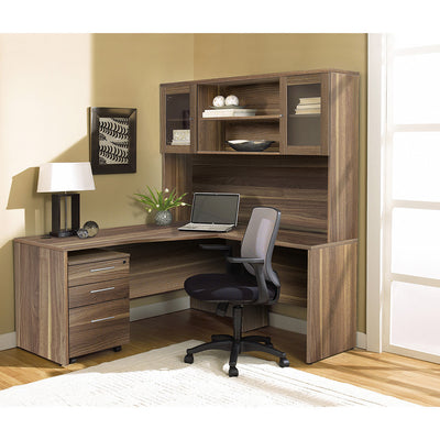 Modern Walnut L-shaped Desk with Hutch & Mobile Pedestal