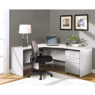 Modern White L-shaped Desk with Mobile Pedestal