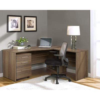 Modern Walnut L-shaped Desk with Mobile Pedestal