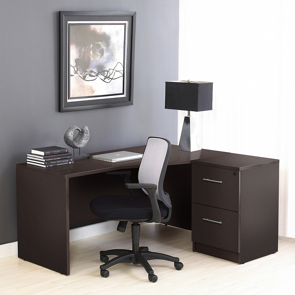 Premium Espresso Crescent Desk with Two File Drawers