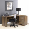 Premium Walnut Crescent Desk with Two File Drawers
