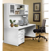 "63"" Modern White Desk with Hutch & Mobile Pedestal"