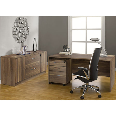 "63"" Modern Walnut Desk with Credenza & Mobile Pedestal"