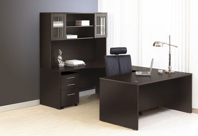 Premium Modern Espresso U-shaped Desk with Hutch