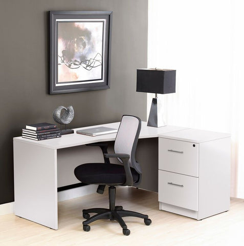 Premium White Crescent Desk with Two File Drawers