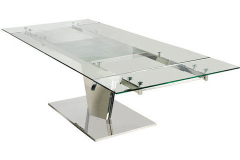 "Polished Stainless Steel & Glass Desk or Conference Table (Extends from 78"" to 106"" W)"