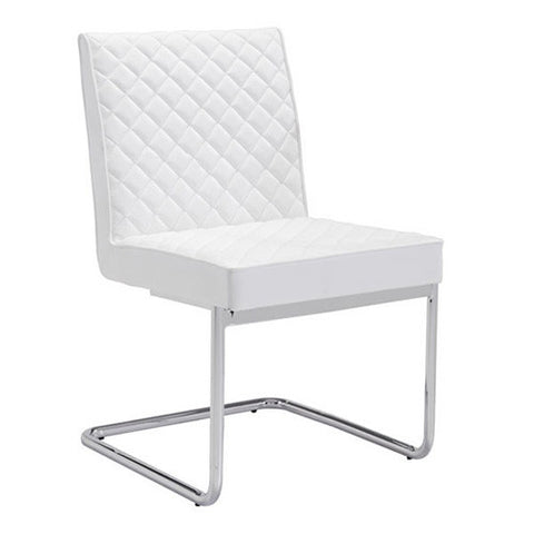 White Checkered Leather Conference Chair with Chrome Frame (SET OF 2)