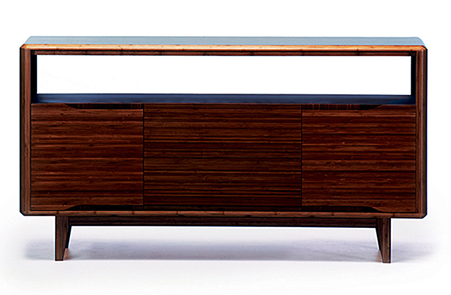 "Solid Bamboo 54"" Credenza in Dark Walnut Finish"