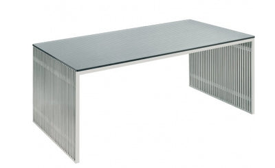 "Modern Brushed Stainless Steel 64"" Executive Desk with Glass Top"