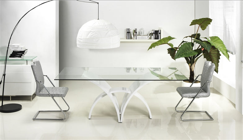 "79"" Modern Clear Glass & White Lacquer Desk or Conference Table from Casabianca"