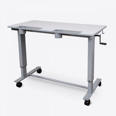 "48"" Gray Standing Office Desk w/ Crank Handle and Built-In Water Bottle Holders"