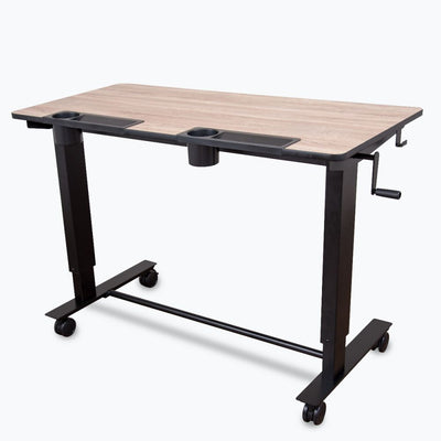 Awesome Black Wood Standing Office Desk W Crank Handle And Built In Cup Holders Download Free Architecture Designs Rallybritishbridgeorg