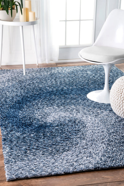Blue Swirled Polyester Rug (Multiple Sizes Available)