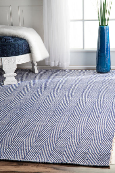 Hand-Loomed Cotton Office Floor Rug in Navy (Multiple Sizes Available)