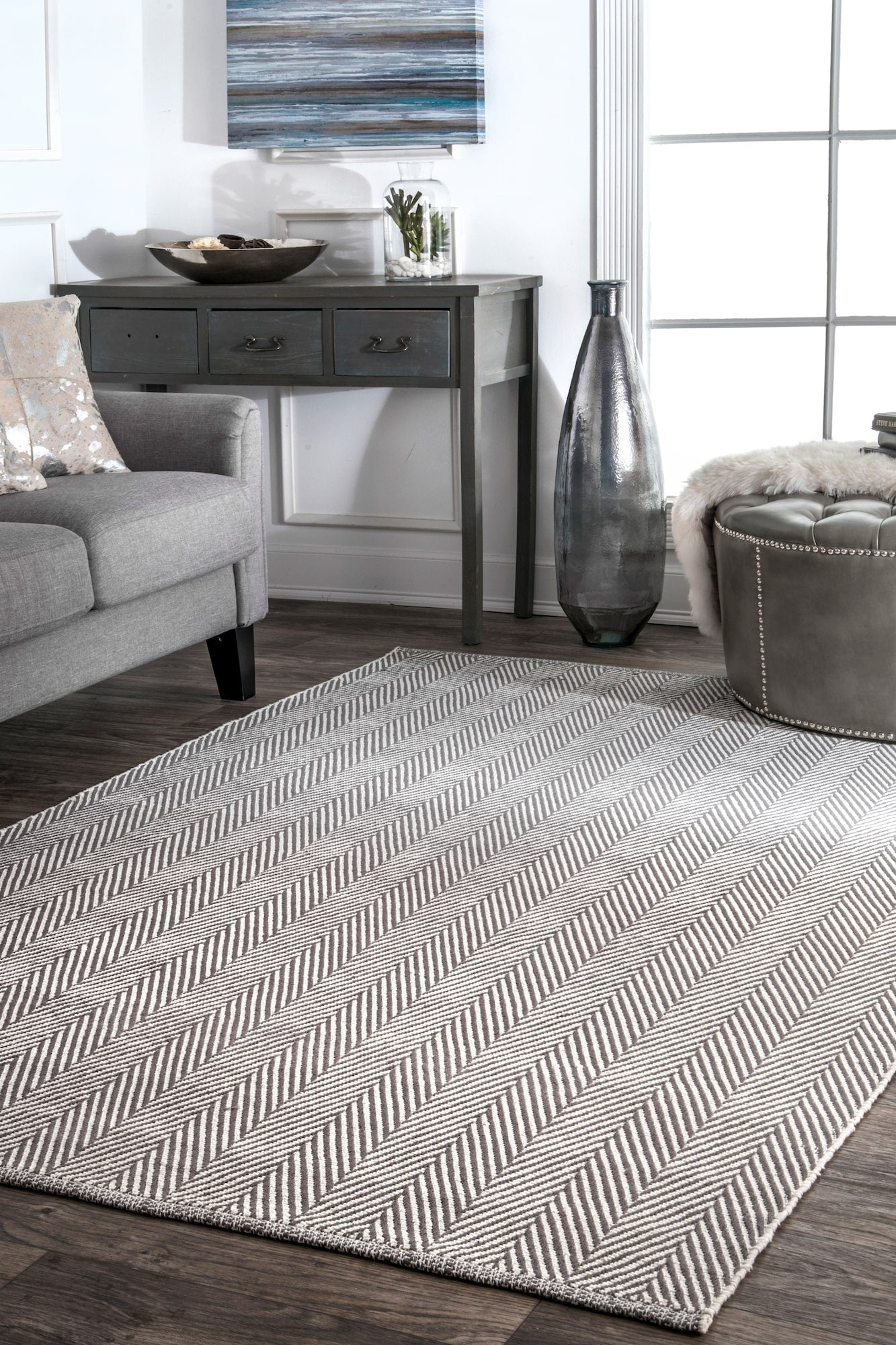 Hand Loomed Cotton Office Floor Rug In Gray Multiple Sizes