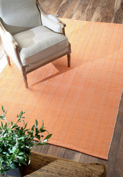 Hand-Loomed Cotton Office Floor Rug in Orange (Multiple Sizes Available)