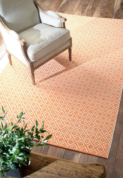 Orange Cotton Hand-Loomed Indoor Office Rug (Multiple Dimensions)
