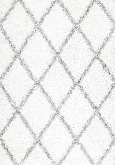 Elegant White & Grey Crisscross Office Rug (Multiple Sizes)