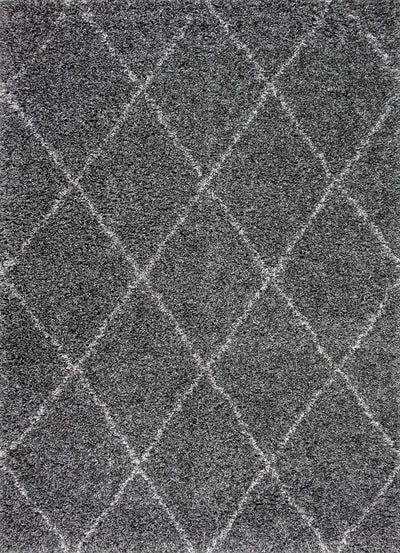 Elegant Dark Grey Crisscross Office Rug (Multiple Sizes)