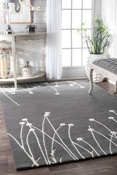 Grey & Ivory Wool Office Rug w/ Plant-Like Pattern (Multiple Sizes)