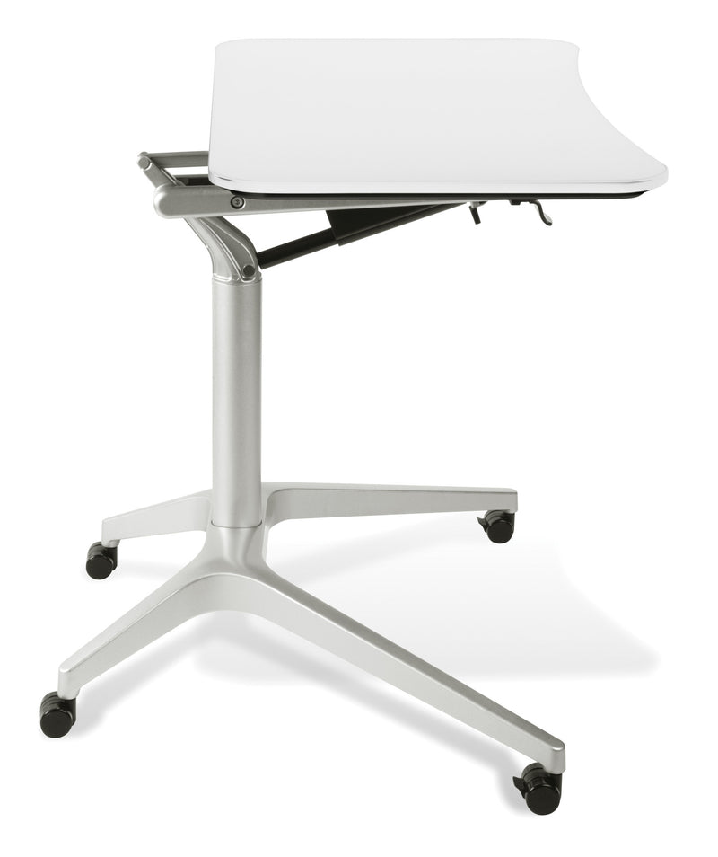mobile computer desk premium steel sit or stand desk with finish options 10963