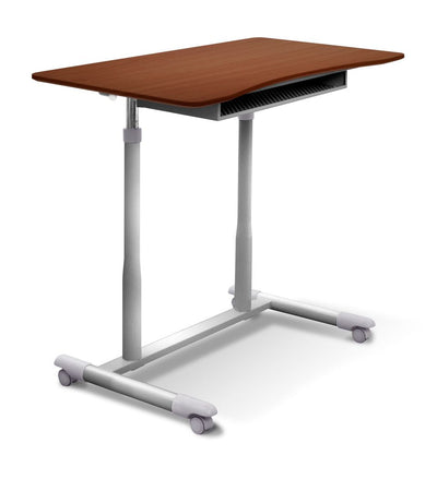 "37"" Cherry Sit-Stand Office Desk w/ Wire Storage Shelf"