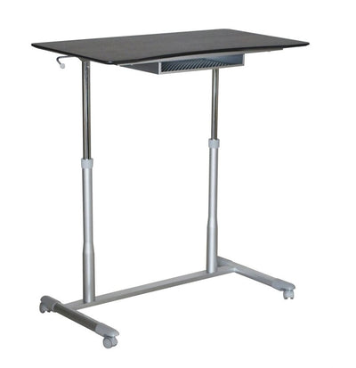 "37"" Espresso Sit-Stand Office Desk w/ Wire Storage Shelf"