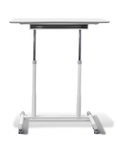 "37"" White Sit-Stand Office Desk w/ Wire Storage Shelf"