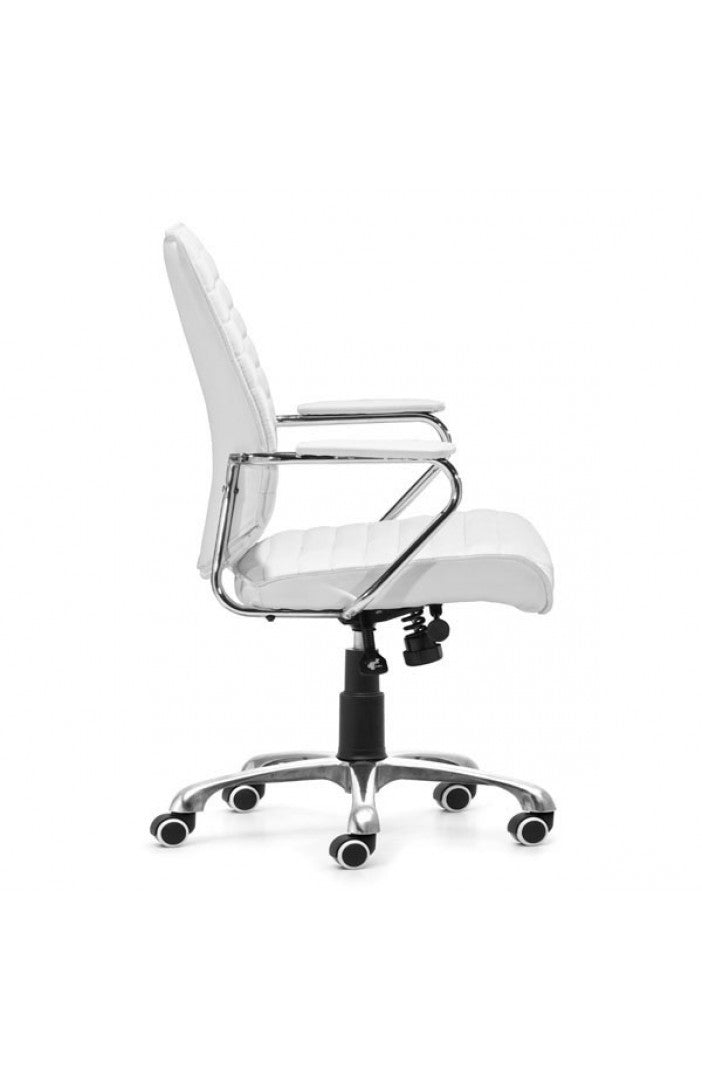 sleek white leather chrome office chair with padded armrests