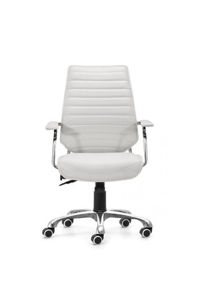 Sleek White Leather & Chrome Office Chair with Padded Armrests
