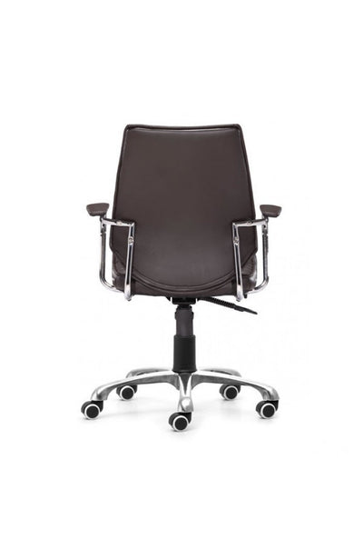Sleek Espresso Leather & Chrome Office Chair with Padded Armrests