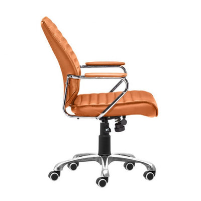 Sleek Terra Leather & Chrome Office Chair with Padded Armrests