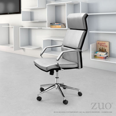Modern Silver Leather Office Chair with Chrome Accents