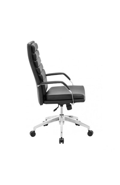Black Leather Office Chair with Chrome Base & Padded Armrests