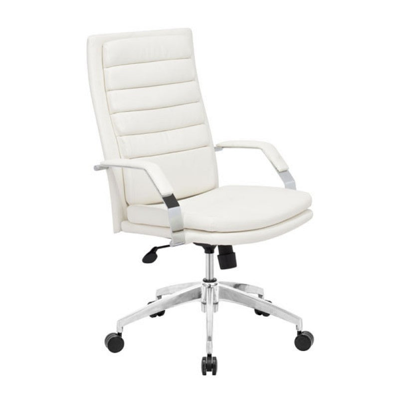 white leather office chair with chrome base padded armrests