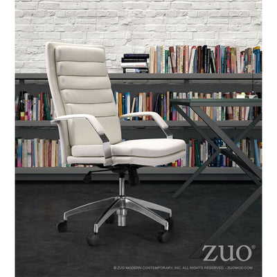 White Leather Office Chair with Chrome Base & Padded Armrests