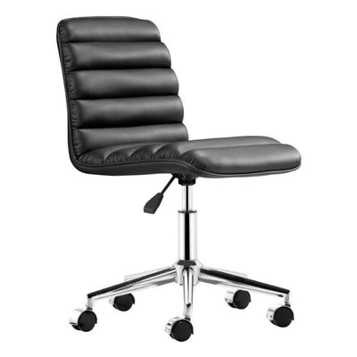 Sleek Armless Black Leatherette Office or Conference Chair